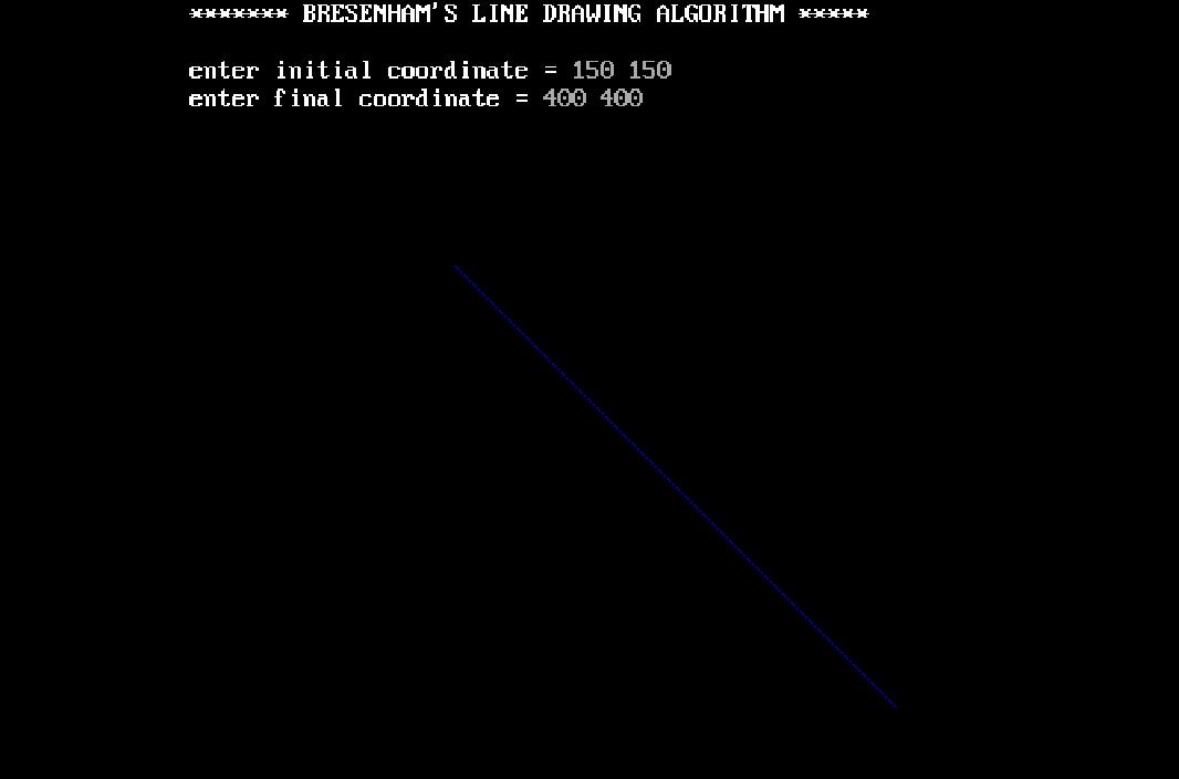 C Program to draw a line using Bresenham's line drawing